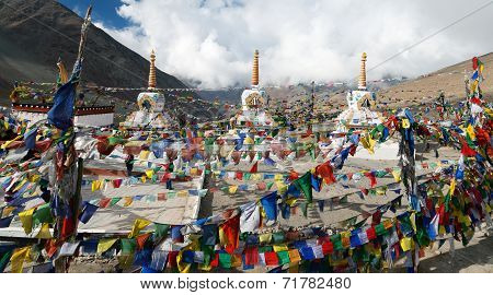 Prayer Flags With Stupas - Kunzum La Pass - Himachal Pradesh - India