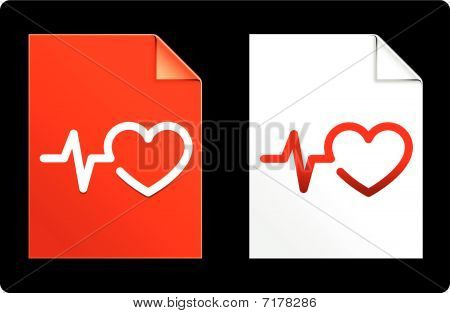 Heart Pulse On Paper Set