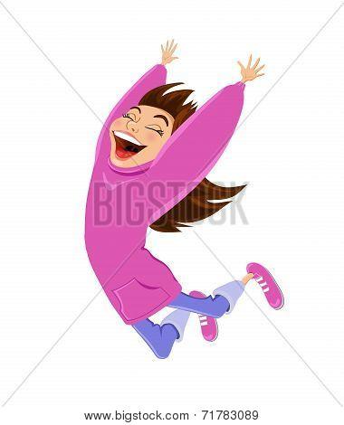 Cartoon happy jumping girl