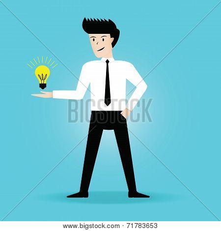 Businessman get the idea. vector illustration