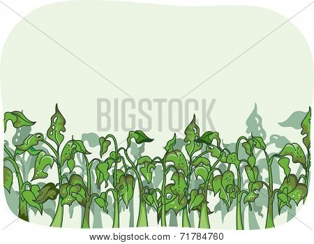 Illustration Featuring Plants That Have Been Infested by Bugs