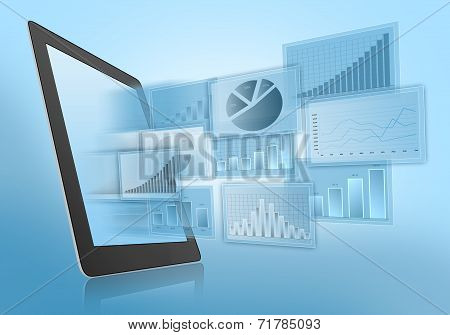 Departing financial charts on screen of the tablet.