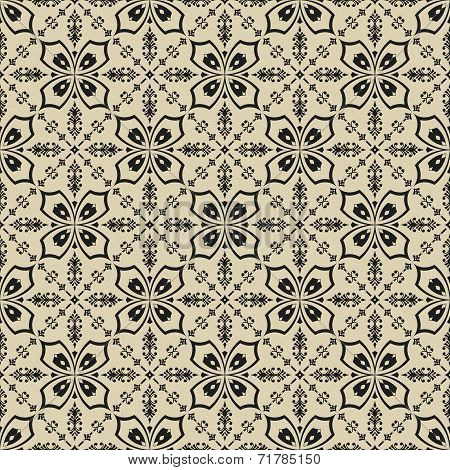 Black On Beige Floral Pattern Seamless Background