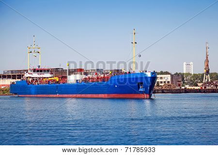 Blue Lpg Gas Carrier. Industrial Cargo Ship Moored In Burgas
