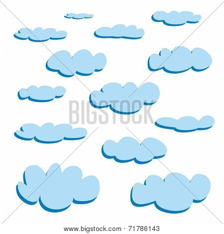 Blue clouds isolated on white background - vector set.