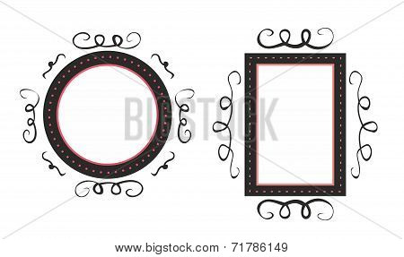 Hand drawn vector black and pink decorative frames isolated on white background