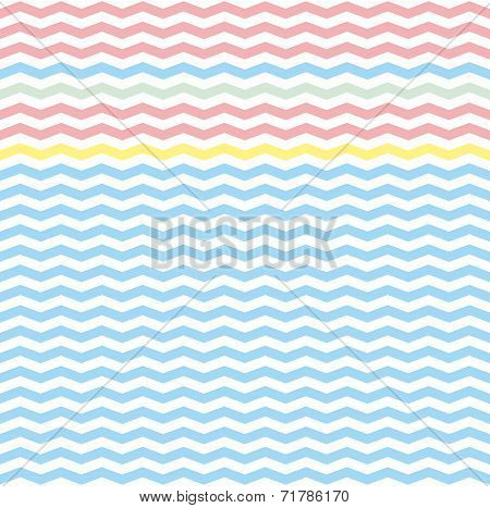 Chevron zig zag tile vector pattern or seamless green, pink, yellow and blue background