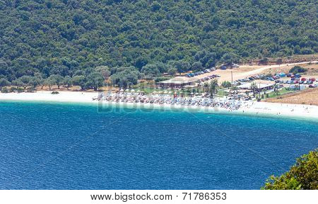 Top Summer View Of Antisamos Beach (greece,  Kefalonia).
