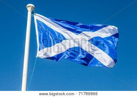 Flag of Scotland on blue sky background ona windy day