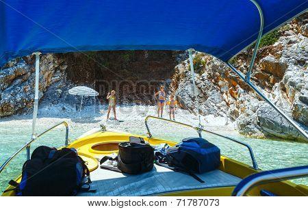 Family On Small Beach (kefalonia, Greece)