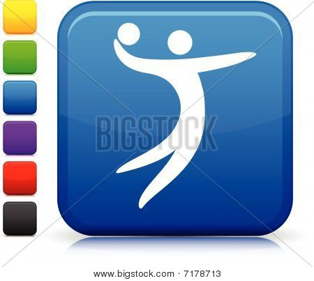 Volleyball Icon On Square Internet Button