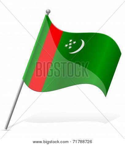 Flag Of Turkmenistan Vector Illustration