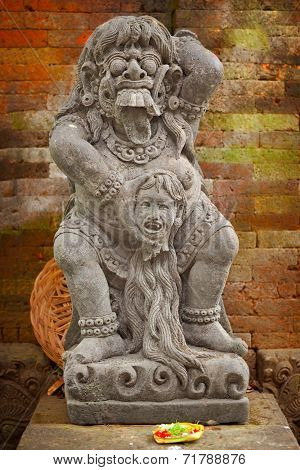 Vintage Statue Of The Deity Child-eating Rangda. Indonesia, Bali