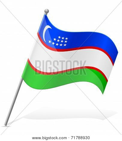 Flag Of Uzbekistan Countries Vector Illustration