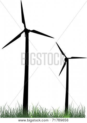 illustration with two wind power generator silhouettes isolated on white background