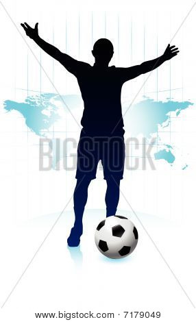 Soccer Player With World Map Background