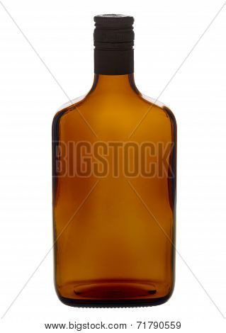 Brown Empty Liqueur Bottle Isolated On A White