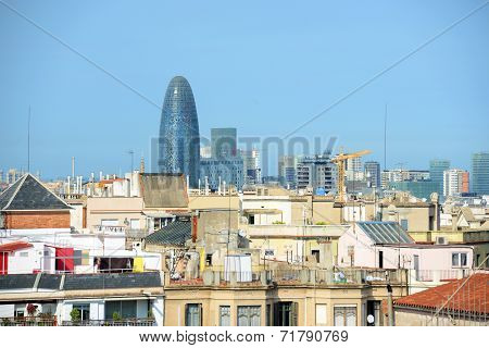 Barcelona skyline and Torre Agbar, Spain