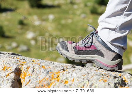 Hiking Boot On A Rock