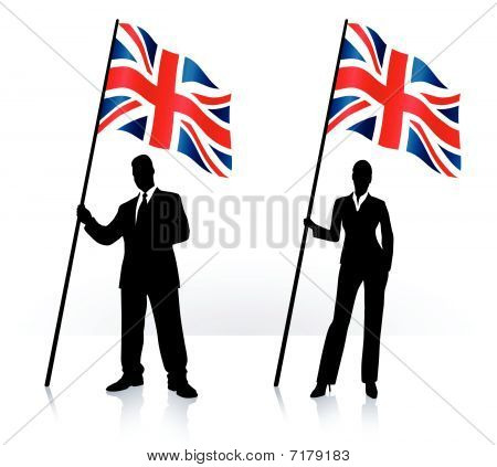 Business Silhouettes With Waving Flag Of United Kingdom