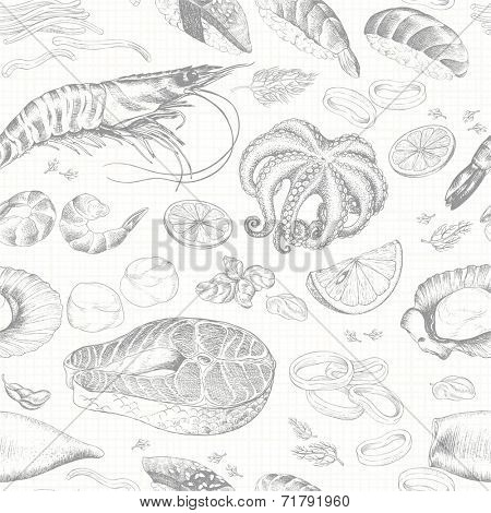 Seamless background with seafood, hand-drawn illustration in vintage style.