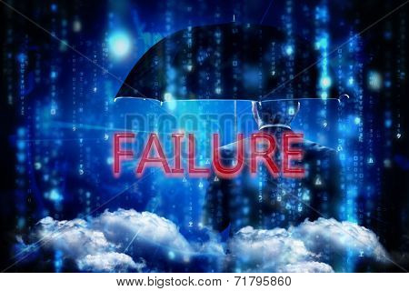 The word failure and mature businessman holding an umbrella against lines of blue blurred letters falling