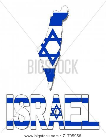 Israel map flag and text vector illustration