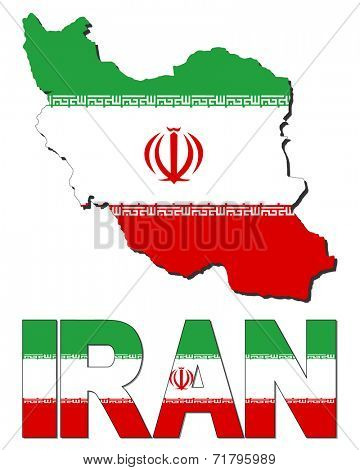 Iran map flag and text vector illustration