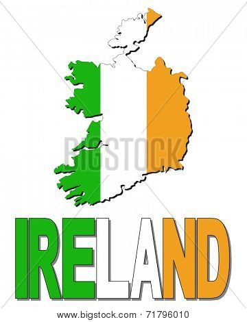 Ireland map flag and text vector illustration