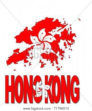 Hong Kong map flag and text vector illustration
