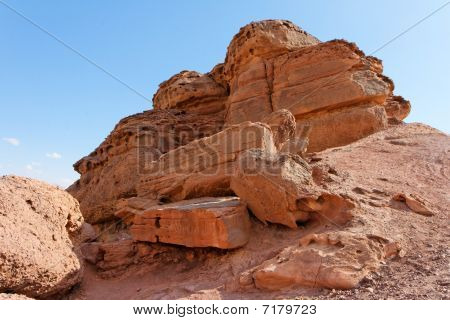 Scenic rock in stone desert