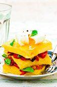 image of posh  - polenta with vegetables and poshed egg close up - JPG