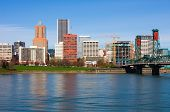 stock photo of portland oregon  - Office buildings next to a river in Portland - JPG