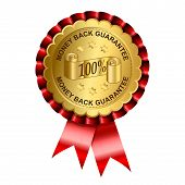 stock photo of rosette  - Money back gold label on rosette illustration - JPG