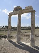 image of artemis  - Columns and ruins of ancient Artemis temple in Hierapolis Turkey - JPG