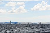 picture of windy weather  - Yachts sailing in adriatic sea in windy weather Dalmatia Croatia - JPG