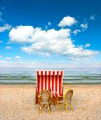 stock photo of sult  - lonely beach chair in cafe on the Baltic Sea - JPG