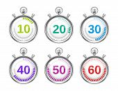pic of pass-time  - Six Colorful Stopwatches with Varying Times in Increments of Tens - JPG