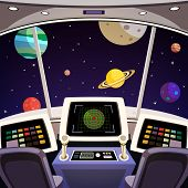 foto of spaceships  - Flying spaceship cabin futuristic interior cartoon with space backdrop vector illustration - JPG