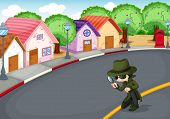 stock photo of crime solving  - Illustration of a detective at the road - JPG