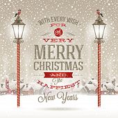 image of typing  - Christmas greeting type design with vintage street lantern against a winter village  - JPG