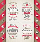 stock photo of year horse  - Set of Christmas type designs and flat icons with long shadow  - JPG