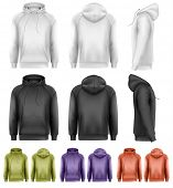 stock photo of hoodie  - Set of different colored male hoodies - JPG