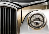 picture of limousine  - Shiny Antique Silver and Gold Limousine Closeup of the Front - JPG