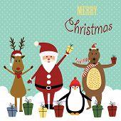 foto of cute bears  - Cute christmas card with Santa reindeer bear and penguin - JPG