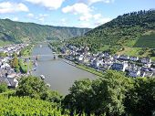 picture of moselle  - view of Moselle river vineyards Cochem town in Germany - JPG