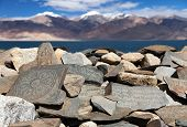 picture of nepali  - Mani wall and Tso Moriri lake  - JPG