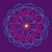 picture of mehndi  - traditional indian mehndi style flower with gradient - JPG