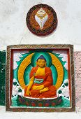 stock photo of nepali  - Detail of Tall Shanti Stupa near Leh  - JPG