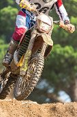 stock photo of dirt-bike  - Closeup of a motocross bike in a championship - JPG